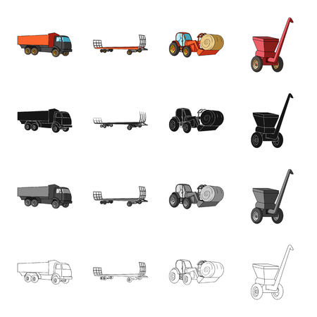 Truck, trailer for hay, tractor with a roll of hay, mobile chopper. Different types of agricultural machinery set collection icons in cartoon black monochrome outline style vector symbol stock isometric illustration . Illustration