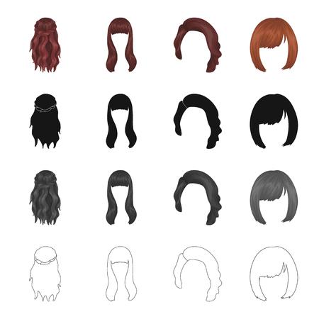 Perruque, coiffeur, salon et autre icône dans le style de bande dessinée. Salonique, beauté, icônes de modèle dans la collection de ...