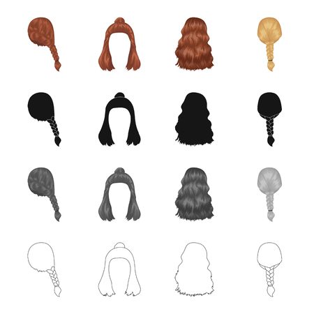 Hair, long,chignon, and other  icon in cartoon style. Barbershop, coiffure, locks icons in set collection