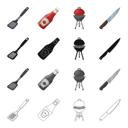 Barbecue, knife, rest, and other  icon in cartoon style.Blade, kitchen, plastic icons in set collection Illustration