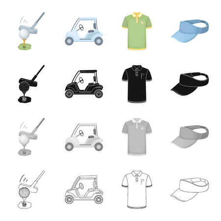 Sports, putter, ball, and other  icon in cartoon style.Attributes, golf, competitions, icons in set collection.