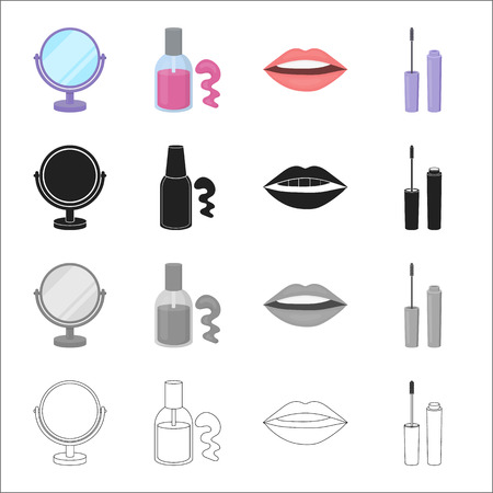pink and black: Care, makeup, Attributes and other  icon in cartoon style.Hairdresser, beauty salon, icons in set collection.