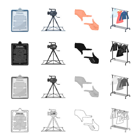 camera film: License, sign, announcement and other  icon in cartoon style.Cinematography, film, cartoon, icons in set collection