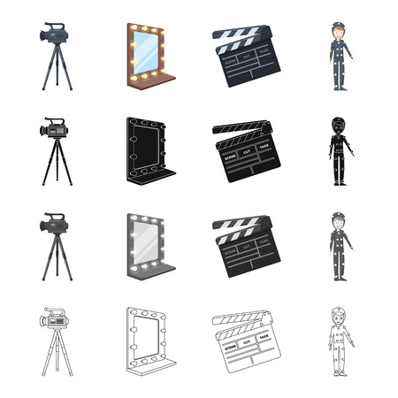 camera film: Video, camera, screen, and other  icon in cartoon style. Film, boy, clothes icons in set collection