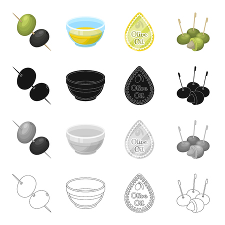 Olives, berry, fruit and other  icon in cartoon style.Industry, ingredients, butter icons in set collection. Reklamní fotografie - 87534562