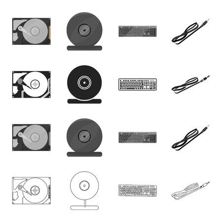 Atributos, computadora, sistemas y otros iconos en estilo de dibujos animados. Comunicación, herramientas, equipos, iconos en conjunto colección