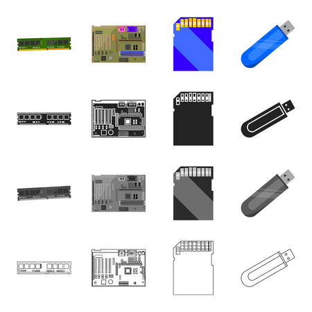 Device, components, parts and other  icon in cartoon style.Computer, laptop, office, icons in set collection