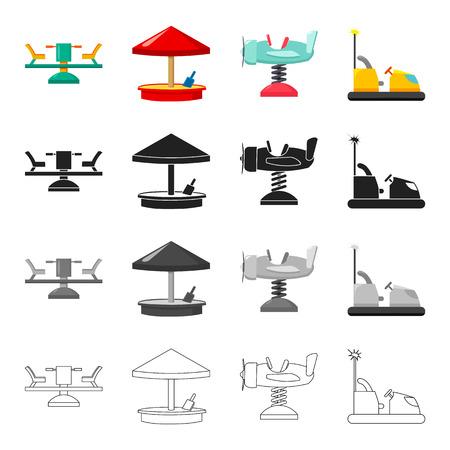 Carrusel, descanso, vacaciones y otro icono de la web en estilo de dibujos animados. Avión, coche, iconos de entretenimiento en la colección de conjunto. Foto de archivo - 87534576