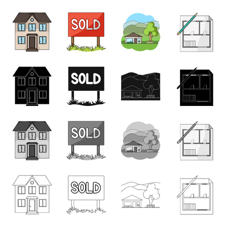 Building, architecture, office, and other  icon in cartoon style. Realtor, signboard, stand icons in set collection