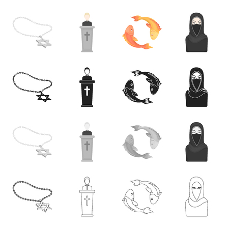 Religion, attributes, accessories and other  icon in cartoon style.Burqa, Arab, nationality, icons in set collection