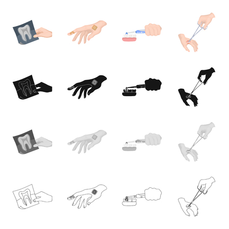 polyclinic: Snapshot of the tooth, medical plaster on the hand, teeth cleaning, wound treatment. Medicine and dentistry set collection icons in cartoon black monochrome outline style vector symbol stock isometric illustration .