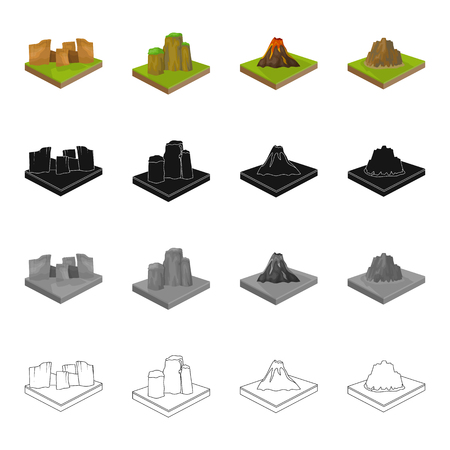 precipice: Mountain, hill, plain, and other  icon in cartoon style. Ecology, relief, mount icons in set collection
