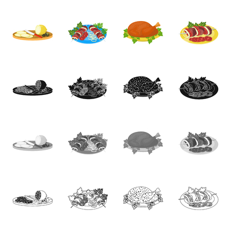 art piece: Sliced lemon, shish kebab, tasty food, fried chicken, shish kebab with vegetables. Food and Cooking set collection icons in cartoon black monochrome outline style vector symbol stock illustration isometric . Illustration