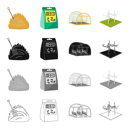 A haystack, a package with seeds for planting, a greenhouse on a farm, a wind generator. Farm and vegetable garden] set collection icons in cartoon black monochrome outline style vector symbol stock illustration isometric .