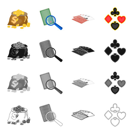 A bag of coins, a marked card, a deck of playing cards in the casino, a card suit. Casino set collection icons in cartoon black monochrome outline style vector symbol stock isometric illustration .