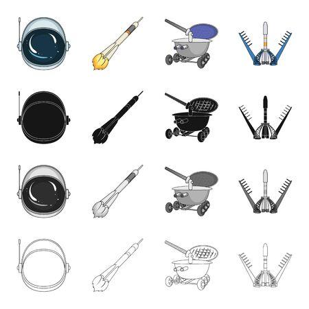 Sputnik, universum, planeet en andere pictogram in cartoon stijl. Galaxy, satelliet, cosmodrome pictogrammen in set collectie