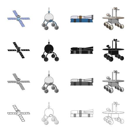 Galaxy, satelliet, radar en andere pictogram in cartoon-stijl. Inovatie, technologie, spoetnikpictogrammen in inzamelingsinzameling Stock Illustratie