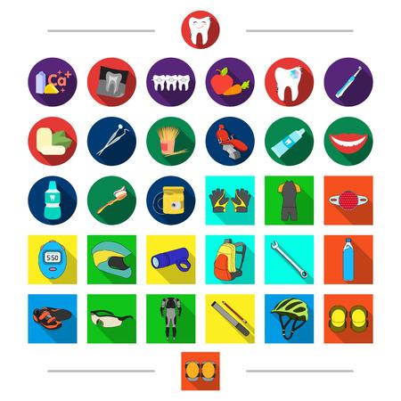 Competizioni, odontoiatria e altra icona nello stile del fumetto. Protezione, gomito, pastiglie, icone nella raccolta dell'insieme