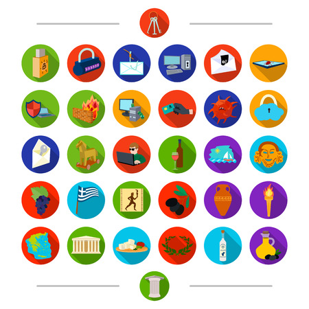 Column, food, attributes and other  icon in cartoon style. Vodka, oil, olive, icons in set collection