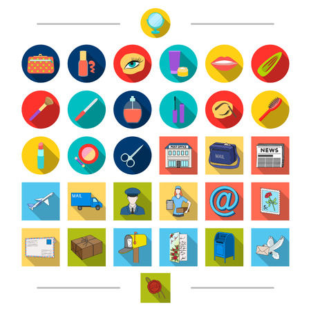 Cosmetics, salon, attributes and other  icon in cartoon style.Postcard, pigeon, seal, icons in set collection Illustration