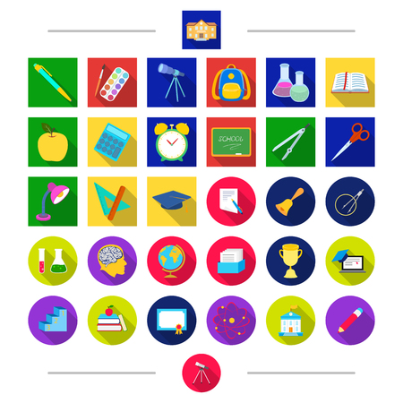 Pencils, education, attributes and other web icon in cartoon style. Letter, Universe, university icons in set collection.