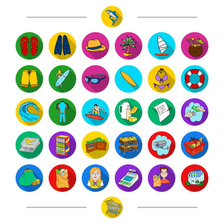 Food, leisure, ocean and other web icon in cartoon style. Cart, trade, equipment, icons in set collection.