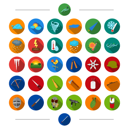Weather, forecast, phenomenon and other web icon in cartoon style. Weapon, army, war, icons in set collection.