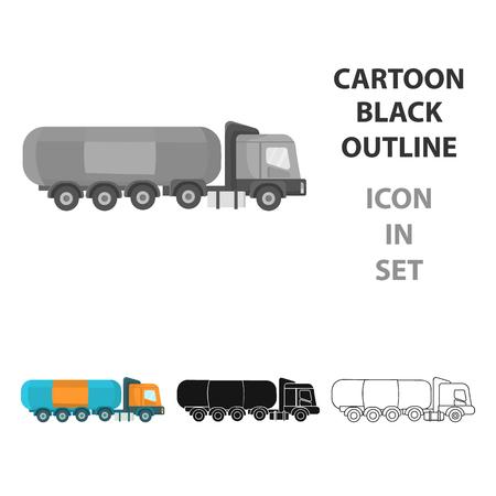 heavy industry: Oil tank trucker icon in cartoon style isolated on white background. Oil industry symbol stock vector illustration. Illustration