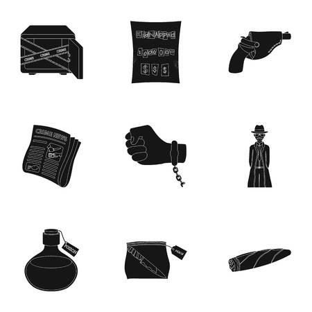 A detective, a pistol in a holster, a police badge, a magnifying glass and a fingerprint, criminal news and other attributes. Detective and crime set collection icons in black style vector symbol stock illustration web.