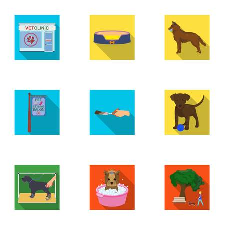 Walking with a dog, a vet clinic, a dog haircut, a puppy bathing, feeding a pet. Vet clinic and pet care set collection icons in flat style vector symbol stock illustration web.