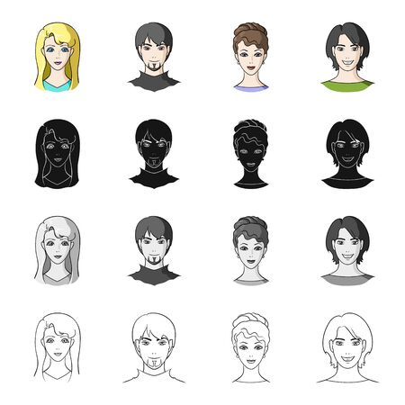 Woman, blonde, man, and other web icon in cartoon style.