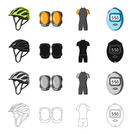 Protective helmet of a bicyclist, knee pads, outfit overalls, timer.