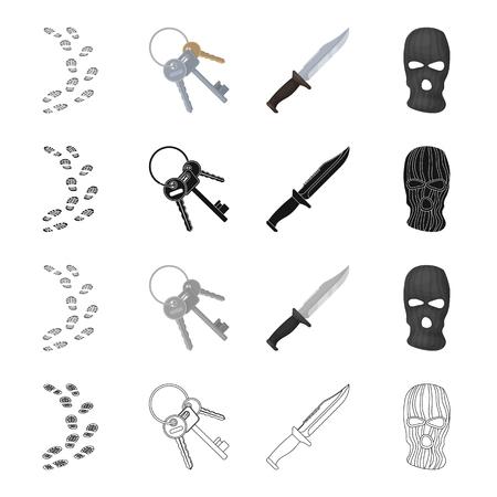 Footprints on the ground, a bunch of skeleton keys, a knife, a mask of a criminal.