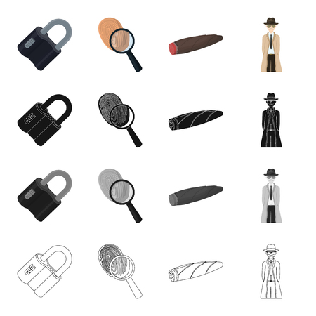 Deduction, crime, robbery and other web icon in cartoon style.Lock, metal, hinged, icons in set collection. Illustration