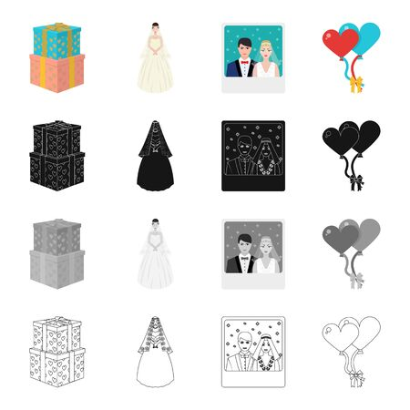 Wedding gifts, bride, photo of newlyweds, balloons. Wedding set collection icons in cartoon black monochrome outline style vector symbol stock isometric illustration web. Illustration