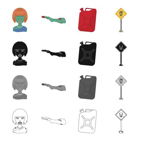 좀비, 여자, 머리 및 만화 스타일의 다른 웹 아이콘. 빛, 묵시, 감염 컬렉션 아이콘 컬렉션입니다.