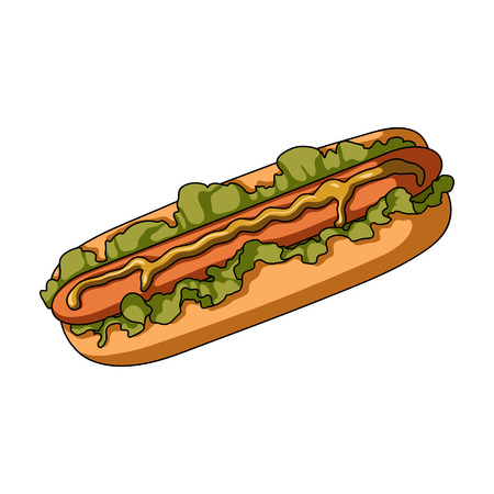 Hot dog, single icon in cartoon style.Hot dog vector symbol stock illustration web.