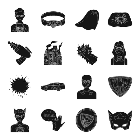 Suit, sign, and other web icon in black style. Lifeguard, protector, superpower icons in set collection.