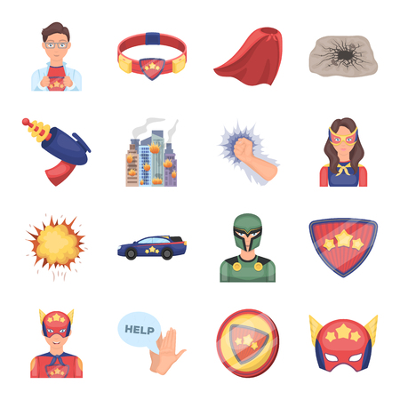 Suit, sign, and other web icon in cartoon style. Lifeguard, protector, superpower icons in set collection.