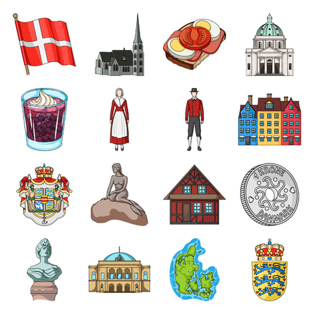 Symbol, Denmark, buildings and other web icon in cartoon style.Design, history, tourism icons in set collection. Illusztráció