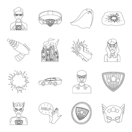 Suit, sign, and other web icon in outline style. Lifeguard, protector, superpower icons in set collection. Ilustração