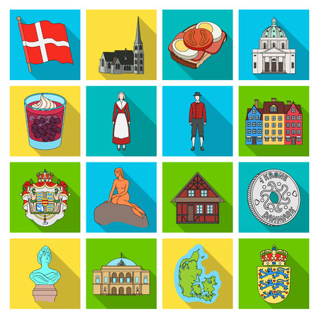 Symbol, Denmark, buildings and other web icon in flat style.Design, history, tourism icons in set collection. Illusztráció