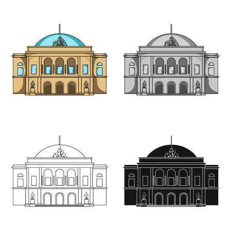 Building, single icon in cartoon style.Building vector symbol stock illustration web. Illustration