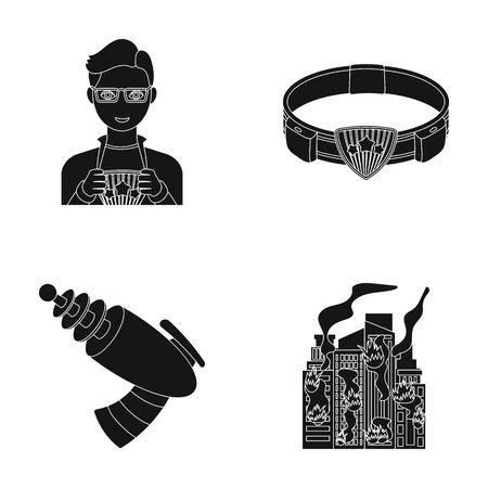 blacks: Man, young, glasses, and other  icon in black style. Superman, belt, gun icons in set collection Illustration