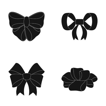 Ornamentals, frippery, finery and other  icon in black style.Bow, ribbon, decoration, icons in set collection