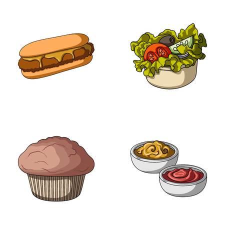 Comida, descanso, refrigerios y otros íconos en estilo de dibujos animados. Pastel, galleta, iconos de crema en conjunto colección Vectores