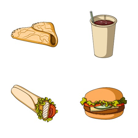 Fast, meal, eating and other  icon in cartoon style.Pancakes, flour, products, icons in set collection Illustration