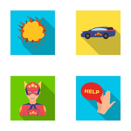 Explosion, fire, smoke and other  icon in flat style.Superhero, superforce, cry, icons in set collection
