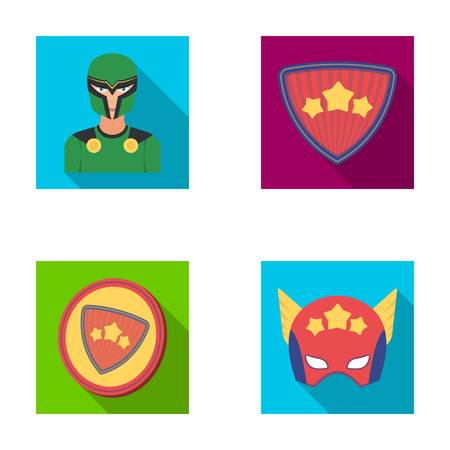 Man, mask, cloak, and other  icon in flat style.Costume, superhero, superforce icons in set collection