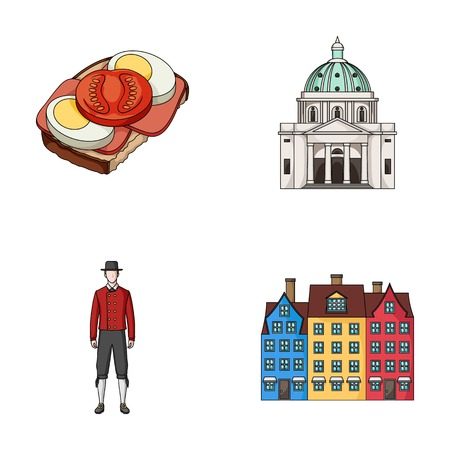 Denmark, history, restaurant, and other  icon in cartoon style.Sandwich, food, bread icons in set collection Illustration